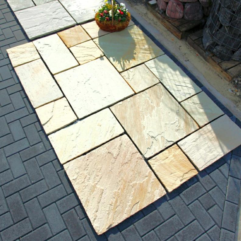 Sandsteinplatten Terrassenplatten Sandstein 60x60 Cm Kalibriert